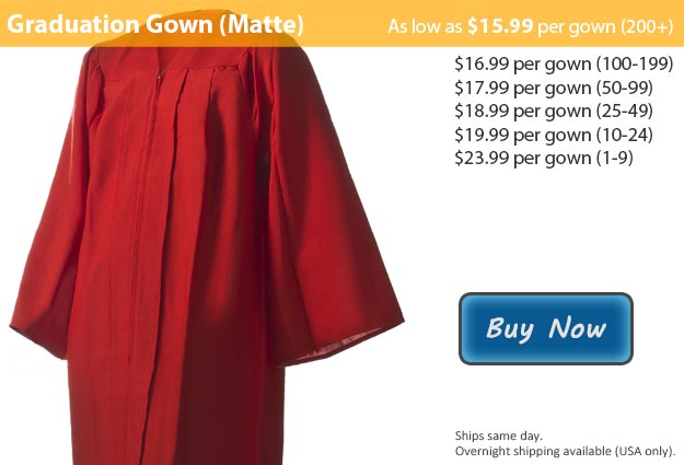 Matte Red Graduation Gown Picture