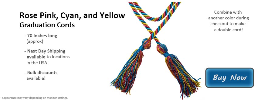 Rose Pink, Cyan, and Yellow Graduation Cord Picture