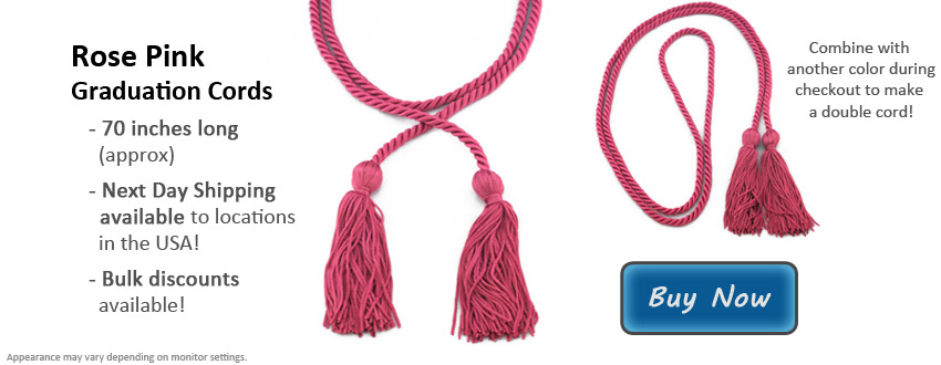 Rose Pink Graduation Cord Picture