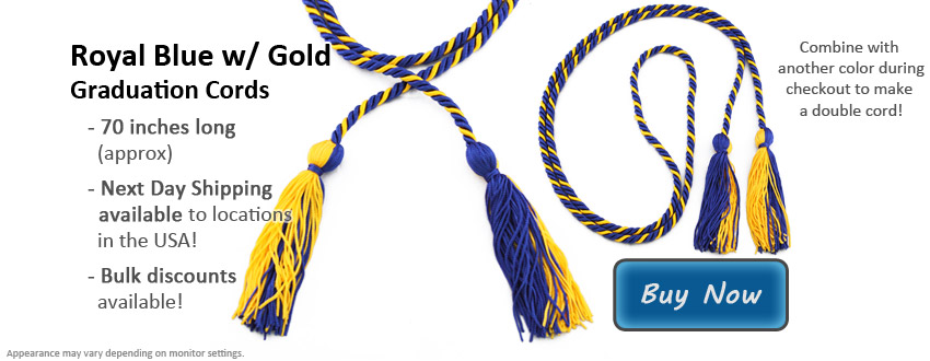 Royal Blue and Gold Graduation Cord Picture