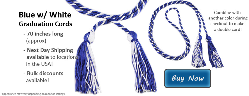 Royal Blue & White Graduation Honor Cords