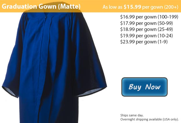 Matte Royal Blue Graduation Gown Picture