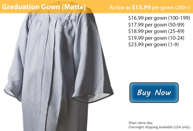 Matte Silver Graduation Gown Picture