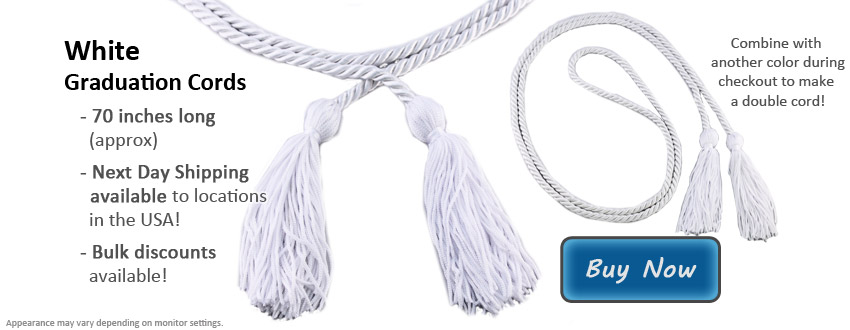 White Graduation Cords from Honors Graduation
