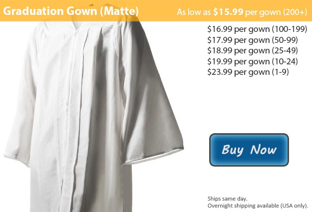 Matte White Graduation Gown Picture