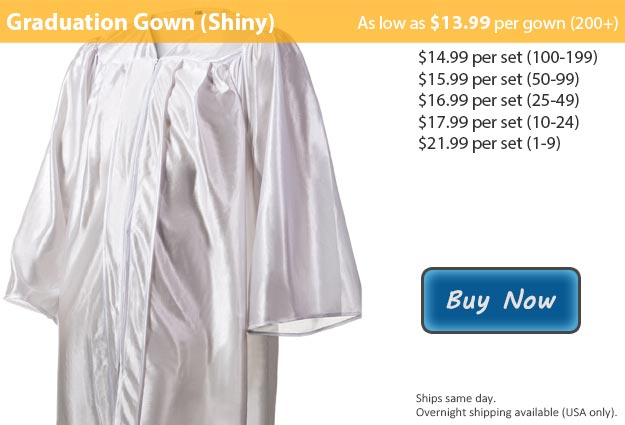 Shiny White Graduation Gown Picture